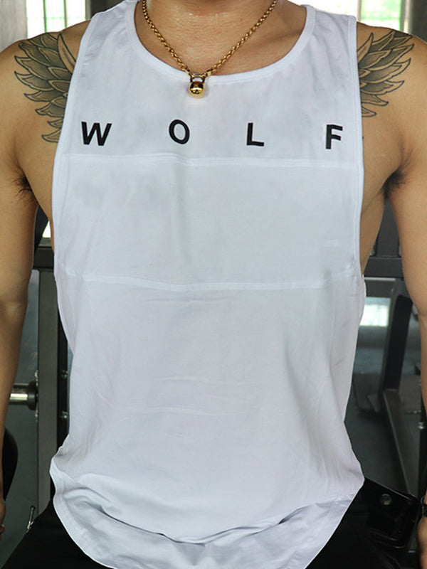 Mens Fashion Round Neck Printed Vest