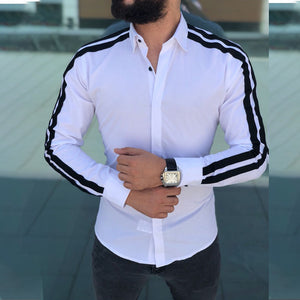 Long-Sleeved Striped Fashion Shirt