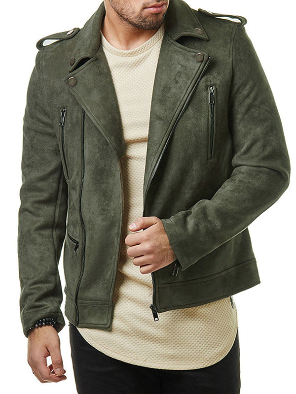 Mens Short Diagonal Zipper Suede Jacket