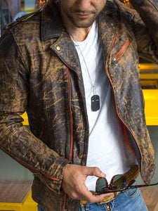 Mens Lapel Retro  Motorcycle Jacket