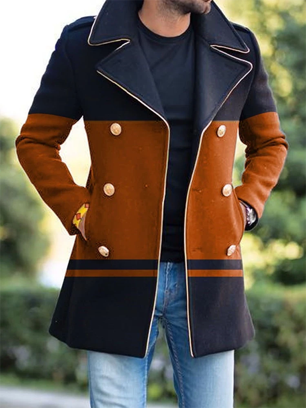 Mens Color Block Mid-Length  Button Coat