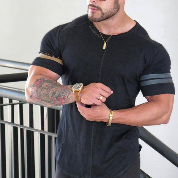 Men Printed Solid Color Slim Round T-Shirt