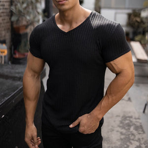 Men's Solid Color V-neck Sports Fitness  T-shirt