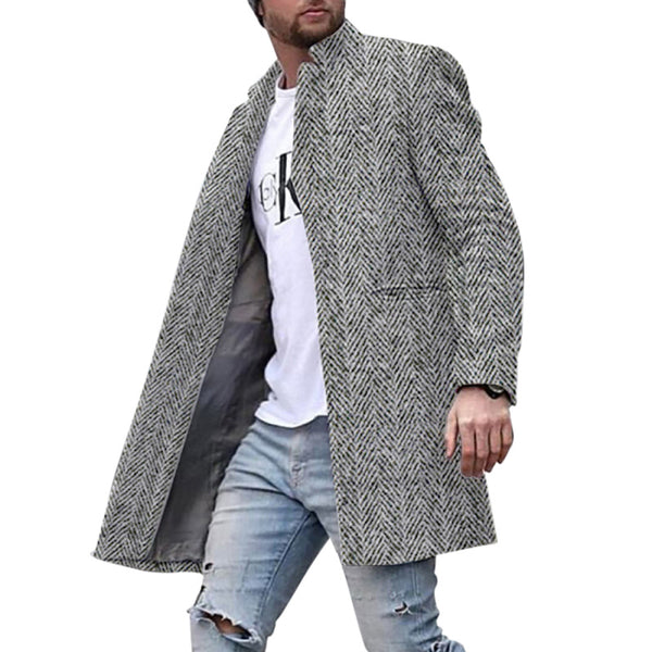 Men's Fashion Plaid Lapel  Trench Coat