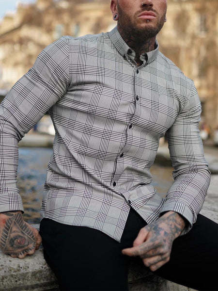 Mens Fashion Check Lapel Slim Shirt
