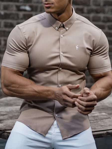 Mens Casual Muscle MenS Plain Lapel  Shirt