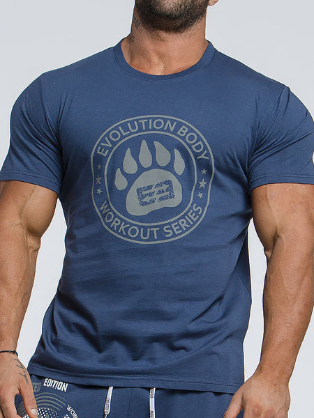 Casual Dog Paw Print Cotton Stretch T-Shirt