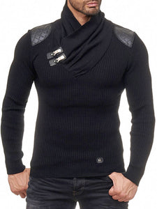 Mens Fashion Plain Stand-Up  Sweater