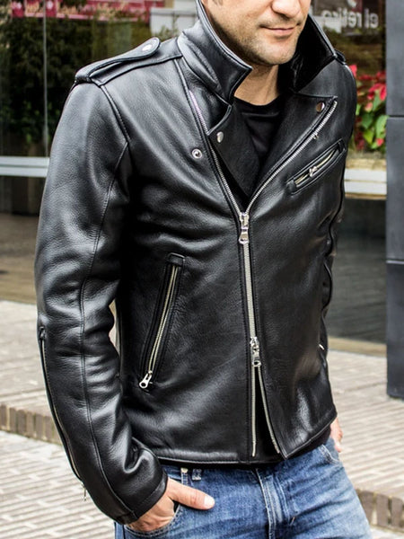 Mens Lapel Pu Motorcycle Jacket