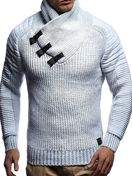 Mens Fashion Slim Leather Collar Sweater