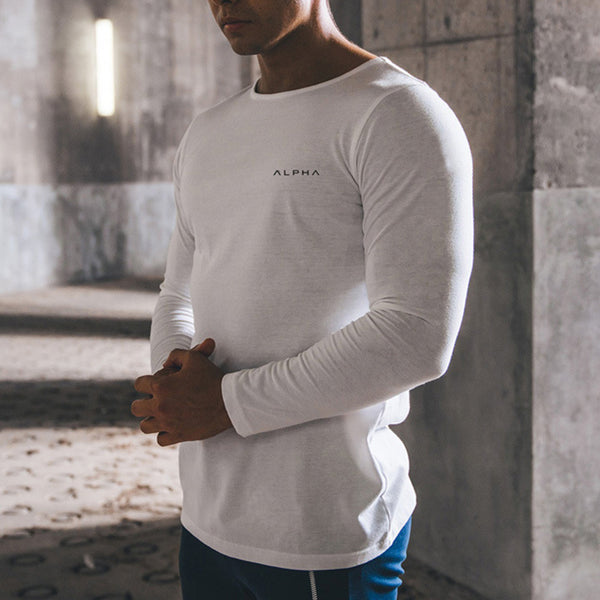 Sports Cotton Stretch Slim Long-Sleeved T-Shirt