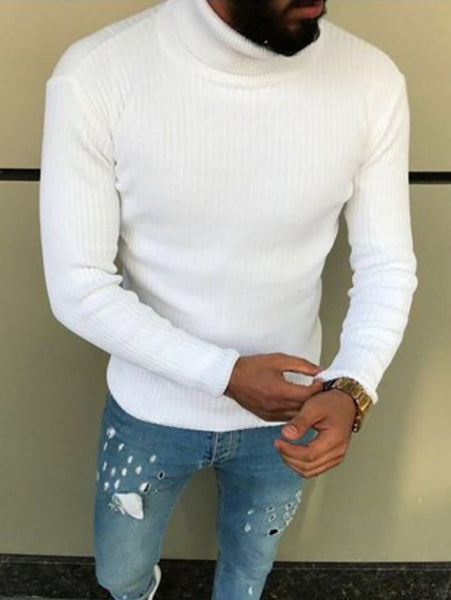 Men's Solid Color Casual Pullover Sweater