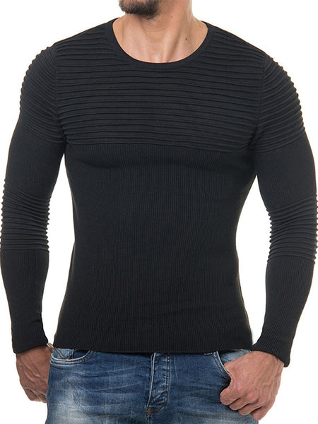 Men's Round Neck Striped Pleated  Sweater