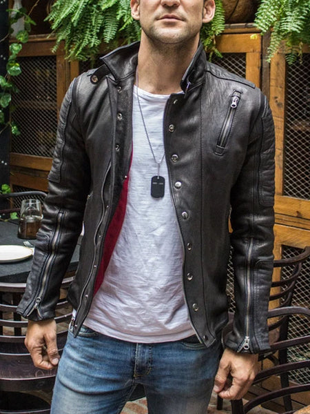 Mens Mock Neck Retro  Motorcycle Jacket