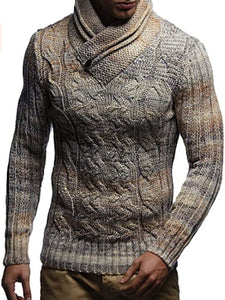 Mens Fashion Turtleneck Solid Color Sweater