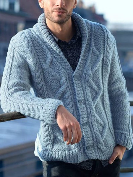 Mens Fashion Casual Lapel  Sweater