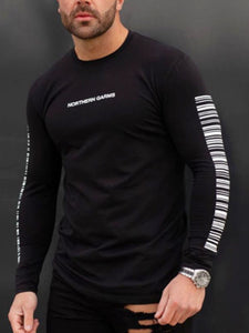 Mens Round Neck Long Sleeves  T-Shirt