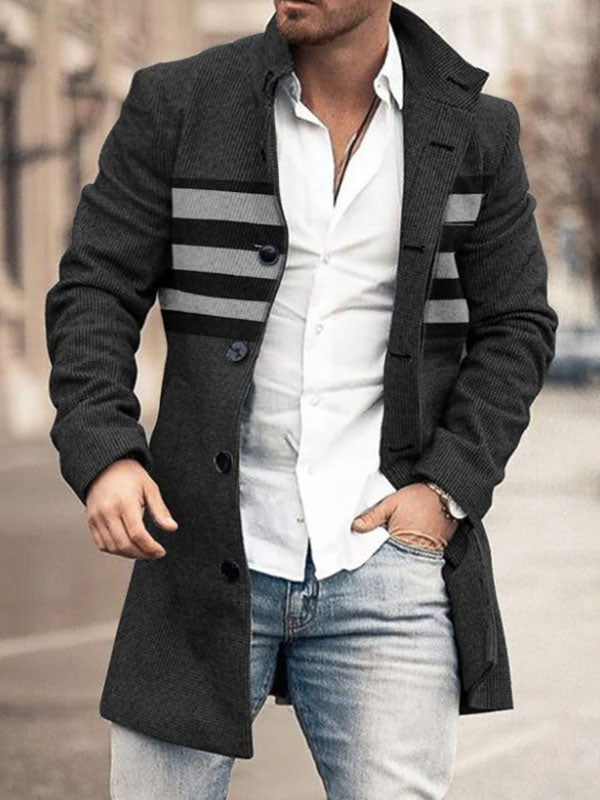 Mens Fashion Stand-up Collar Stripe Coat