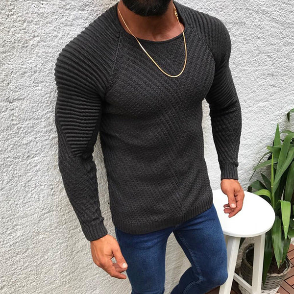 Mens Casual Slim Fit Round Neck Sweater