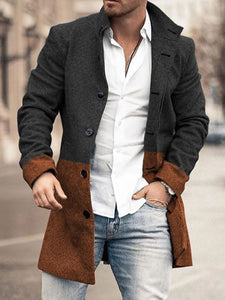 Mens Fashion Collared Patchwork Coat