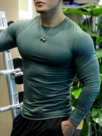 Mens Sports Fitness Plain Long Sleeve T-Shirt