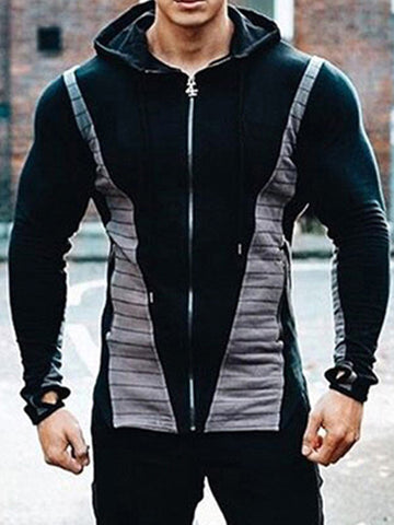 Sports Fitness Slim Hooded Color Block  Jacket