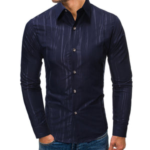Men's Fashion Textured Print Slim Shirt
