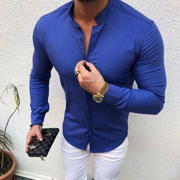 Mens Fashion Stand Collar Slim Long Sleeve Shirt