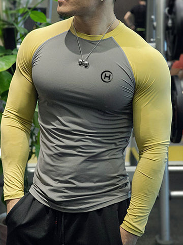 Mens Sports Fitness Hit Color  T-Shirt