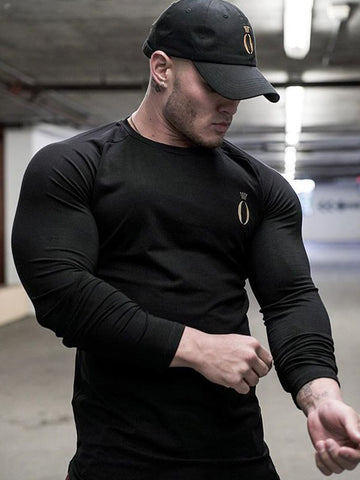Men Round Neck Long Sleeves Tight t- Shirt