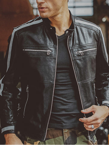 Mens Fashion Trend Motorcycle Jacket
