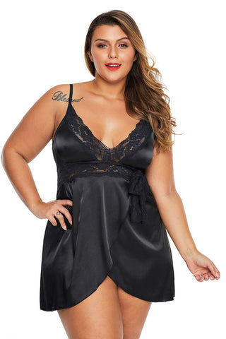 Plus Size Black Lace V Neckline Babydoll Set with Thong