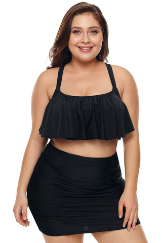 Black Strappy Ruffle Plus Size Two Piece Swimwear