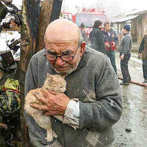 Ali and his family lost everything in a fire, but he managed to save his kitten from the burning house.
