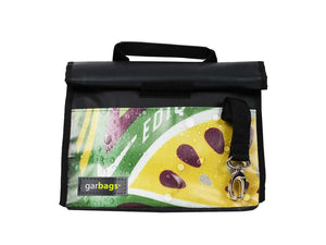 lunch bag publicity banner yellow purple & black - Garbags