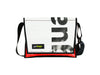 messenger bag M publicity banner black letters & red