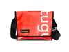 messenger bag M publicity banner white letters & red