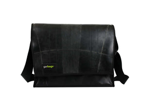 MESSENGER BAG XL PUB BANNER & INNER TUBE BLACK - Garbags