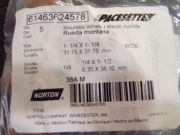(5) Vitrified Mounted Point 60 Grit Medium Grade Aluminum Oxide 1-1/4