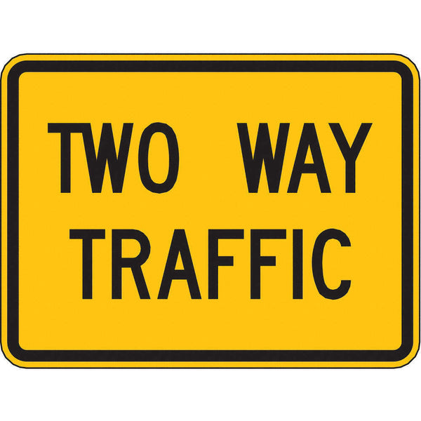 ZING 2392, Traffic Sign, Two Way Traffic ,18 X 24, BK/YEL, 6AHJ2, (184180410928-NB10)