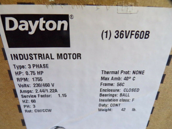 DAYTON 36VF60 GP Motor, TEFC, 3/4 HP, 1755 rpm, 5/8in dia. (184391008354-BT15)