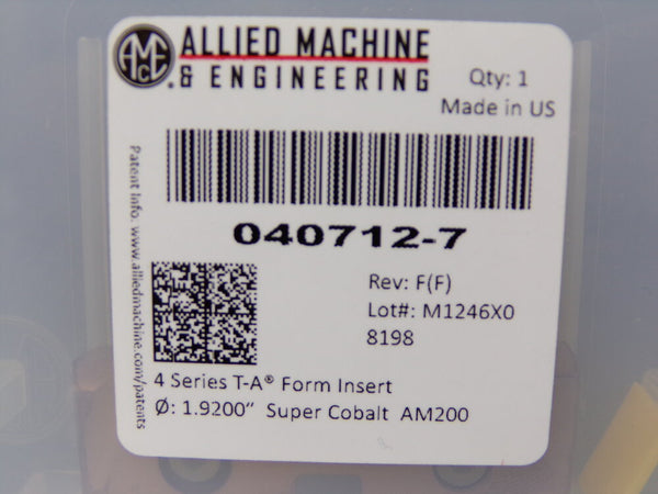 Allied Machine & Engineering 040712-7, AM200 Coated Super Cobalt, T-A HSS Drill Insert, Series 4, 1.9200