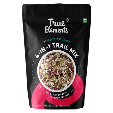 True Elements 4 in 1 Trail Mix (Roasted Sunflower Pumpkin And Flax Seeds Cranberries) 125gm