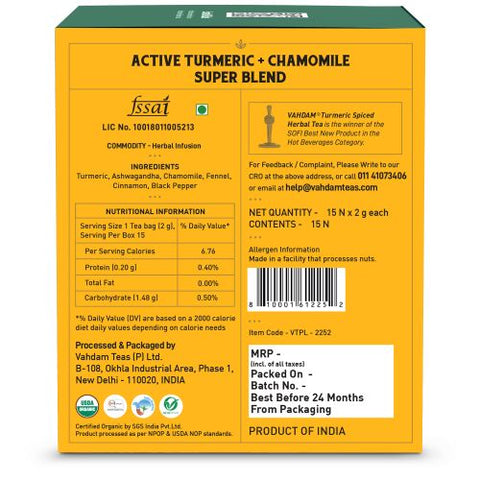 Turmeric Chamomile Herbal Tea - 15 Pyramid Tea Bags