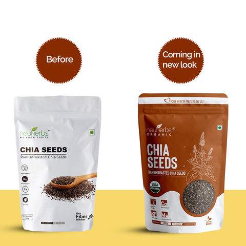 Neuherbs Raw Unroasted Chia Seeds with Omega 3 and Fiber for Weight Loss - 200 Gram