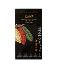 Load image into Gallery viewer, Zevic 99% Classic Dark Belgian Couverture Chocolate with Stevia 96 gm