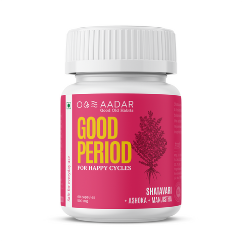 Aadar Good Period | For Hormone Balance, PCOS, Period Pain relief and Mood Swings  | 60 Capsules