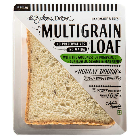Handmade Multigrain Loaf 100% Wholewheat (Pack of 3, No Preservatives, Honest Dough) [Available in Bangalore, Delhi, Mumbai]