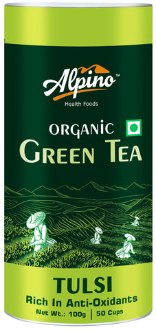 Alpino Certified Organic Tulsi Green Tea 100 Gms (Rich In Anti-Oxidants / Detox Green Tea)