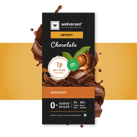 Hazelnut Chocolate - 1g net carb per serving, Sugar Free, Gluten Free & Vegan